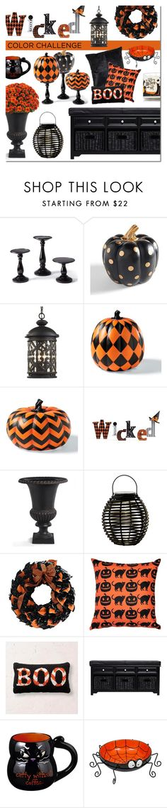 """Color Challenge: ORANGE & BLACK"" by sjkdesign ❤ liked on Polyvore featuring interior, interiors, interior design, home, home decor, interior decorating, Grandin Road, Home Decorators Collection, The Magnolia Company and Pillow Decor"