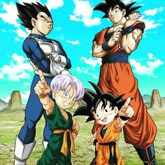 Goku, Vegeta, Trunks y Goten