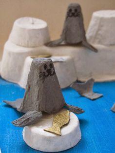 Jumble Tree: Egg box seals that ain't Arf! - Jumble Tree: Egg box seals that ain't Arf! Winter Crafts For Kids, Diy For Kids, Seal Crafts For Kids, Fun Crafts, Arts And Crafts, Paper Crafts, Egg Box Craft, Egg Carton Crafts, Animal Crafts
