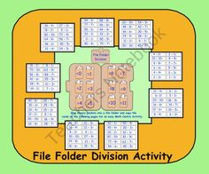 File Folder Division Activity (PDF) for gr. by Carmela Fiorino Vieira Division Activities, Division Games, Math Activities, Educational Activities, File Folder Activities, File Folder Games, Activity Centers, Math Centers, Co Teaching
