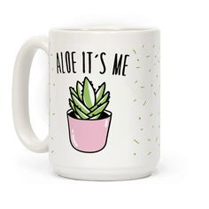 Aloe it's me, and aloe from the other side! Show your love for this wonderful, healing jelly plant and all of it's cute glory with this funny, hello song parody coffee mug! Cute Coffee Mugs, Cool Mugs, Coffee Love, Tea Mugs, Coffee Cups, Coffee Shop, Coffee Maker, Cactus, Crackpot Café