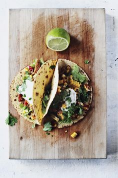 no recipe here but inspiration for vege tacos. yet to find tacos without numbers in them ...preservatives, regulators etc