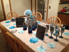Bachelorette party decorations! Glitz and glamour theme! Glassware- paint with mod podge, evenly sprinkle with glitter, let dry, repeat- spray with multiple coats of acrylic spray to waterproof