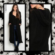 """New black long sleeve hooded open front extra long knit sweater cardigan. Color: Black Material: 100% Polyester Manufactured in China Sizes Avail: Small, Medium, Large  Approx measurements taken from size Small: Bust: 40"""" Waist: 40"""" Length: 48""""  💠💠PRICE FIRM UNLESS BUNDLED💠💠 ⭐️⭐️SORRY NO TRADES AND LOWBALL OFFERS WILL BE IGNORED ⭐️⭐️ 🌺🌺ADDITIONAL MEASUREMENTS AVAIL UPON REQUEST 🌺🌺"""