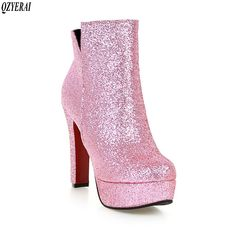 European Designers Brand Women Ankle Boots Heels Female Shoes Woman Autumn Glitter Lace Up Boots Casual Pink High Heel Sneakers, High Heel Pumps, Pump Shoes, Women's Shoes, High Ankle Boots, Heeled Boots, Calf Boots, Pink Boots, Lace Up Boots