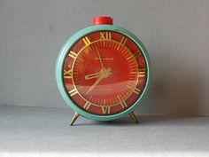 Vintage Bell Alarm Clock JANTARJ / Working / Blue and by EUvintage, $35.00