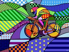 """A Pop Art inspired """"sports"""" art. One large mural could incorporate several spor… A Pop Art inspired """"sports"""" art. One large mural could incorporate several sports providing something very artistic and sports themed without looking like a sports bar Art And Illustration, Bicycle Illustration, Pop Art, Velo Biking, Bike Poster, Ecole Art, Bicycle Art, Bicycle Design, Cycling Art"""
