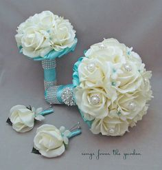 Bridal Bouquet Stephanotis Roses Aqua Blue by SongsFromTheGarden