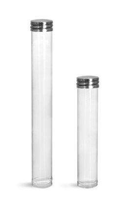 Clear Plastic Round Tube w/ Silver Metal Screw Threaded Lined Cap