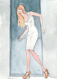 Ilustración original firmada. Fashion IllustrationAcuarela y tinta sobre papel para acuarela de 240 gr .Medida del Papel 23 x 32,5Sin enmarcar .Se envía en sobre de cartón rígido por correo certificado.