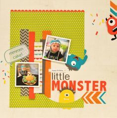 Little Monster layout :: DIY dimensional letters
