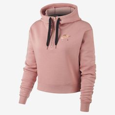 The Nike Air Women's Half-Zip Hoodie features soft, brushed-back fleece and an adjustable hood for all-day, personalised coverage. Nike Outfits, Teen Fashion Outfits, Sporty Outfits, Nike Hoodies For Women, Nike Women, Nike Sweatshirts, Nike Cropped Hoodie, Camisa Nike, Nike Crop Top