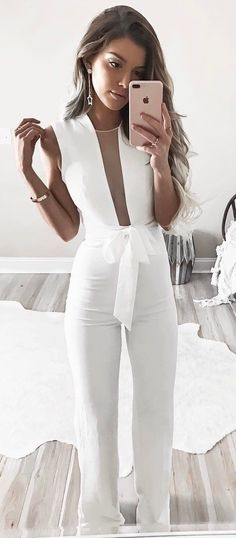 #fall #outfits  women's white sleeveless overalls