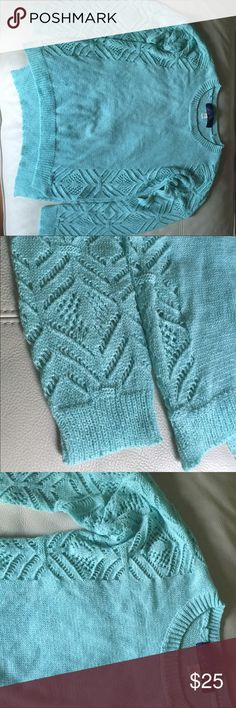 Light blue knit sweater with crochet detail Francesca's light blue knit sweater with gorgeous sea through crochet detailing on the sleeves and sides of the sweater. Light airy. Pair with shorts or pants and a jacket. Can easily be worn in various seasons. Blue Rain Sweaters Crew & Scoop Necks