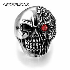 Men Jewelry 316L Stainless Steel Men's Unique Star Skull Warrior Red Zircon Eye Rings Punk Vintage Jewelry US Size 8-11 * gothic jewelry, gothic rings, gothic jewelry rings, gothic accessories, gothic accessories jewellery, gothic jewelry & accessories