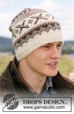 """Colerado by DROPS Design. Knitted DROPS hat with Norwegian pattern in """"Karisma. - Knitting patterns, knitting designs, knitting for beginners. Knitting Designs, Knitting Patterns Free, Knit Patterns, Free Knitting, Free Pattern, Drops Design, Knit Hat For Men, Hat For Man, Knitted Hats"""