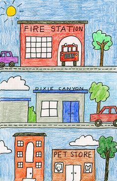 My Neighborhood Drawing. Art Projects for Kids - part of community unit