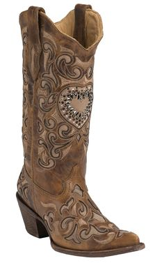 Corral® Ladies Sand Maipo Inlay & Crystal Heart Snip Toe Western Boots | Cavender's