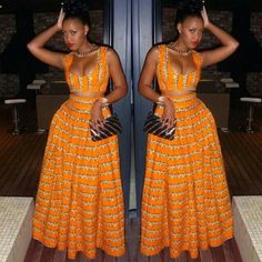 Beautiful African style orange dress