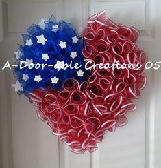 Patriotic Heart Spiral Deco Mesh Wreath by ADoorableCreation Patriotic Crafts, Patriotic Wreath, 4th Of July Wreath, Flag Wreath, Wreath Crafts, Diy Wreath, Burlap Wreath, Wreath Ideas, Dyi Crafts