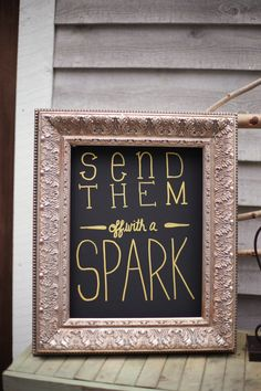 For a late evening wedding, This  sentiment is a cute way of inviting guest to light a sparkler to send the bride and groom away in style.