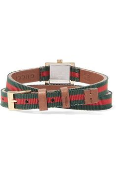 Gucci - Canvas And Gold-tone Watch - Red - One size
