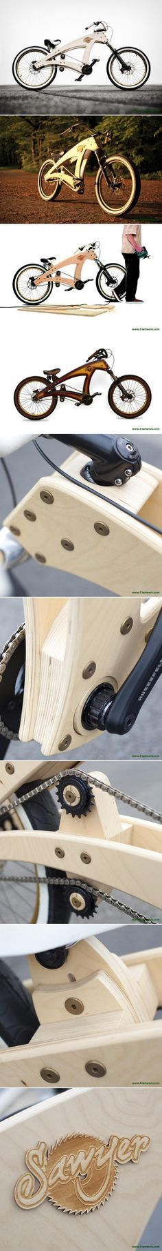 Artist Jurgen Kuipers designed the 'Sawyer', which is a custom made full functional beachcruiser with a beech plywood frame. The bike won an IBDC/IF award handed out during the Taipei Cycle Show 2013 in Taiwan. http://en.51artwork.com/jurgen-kuipers-sawyer-beachcruiser/