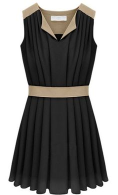 Black V-neck Sleeveless Contrast Panel Pleated Chiffon Dress pictures
