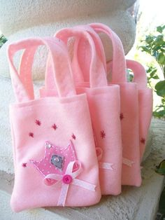 Princess Party All pink Set of 4 Party bags Princess Party Favors, Princess Birthday, Favor Bags, Goodie Bags, Cinderella Party, Spa Party, Farm Party, Candy Bags, Kids Bags