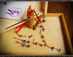 THE TOURIST - Movies Collection -  Hearts of glass with multicolor millefiori beads, brass filigree, brass inserts of Indian folk, red ribbon. Earrings parure.
