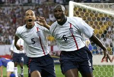 Sol Campbell celebrates his one and only international goal