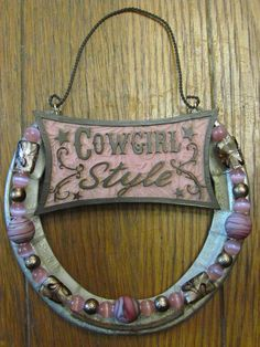 Hand Decorated Cowgirl Style Horse Shoe by justlopin on Etsy, $19.99