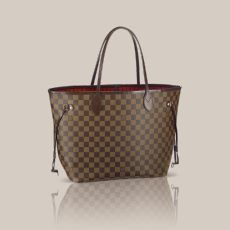 Neverfull MM Damier Ebene Canvas This adaptable bag in Damier canvas can be used as a tote with large storage space, or tightened by its side-laces to make a smaller city bag.