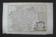 Thomas Bowen Copperplate Engraving Map Germany by PeggysAntiques, $57.50