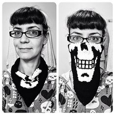 """The SkullKerchief - This pattern is available as a free Ravelry download This pattern is a quick and fun project that's perfect for stash busting. This neck-kerchief will keep you warm on brisk days as well as allow for your little """"evil"""" self to shine through every now and then."""