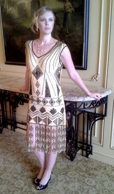 New 1920's Beaded Flapper Dresses by Wear Dreams are Made- Nude/Bronze/Gold Dress