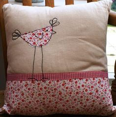 As each cushion is lovingly handmade using free motion embroidery techniques and applique, each one is a little different to the next. As each cushion is made to order, you can request certain colour ways or even send me specific fabric scraps to use. Applique Cushions, Sewing Pillows, Free Motion Embroidery, Machine Embroidery Applique, Bird Applique, Patch Quilt, Cushion Inspiration, Sewing Crafts, Sewing Projects