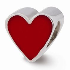 Sterling Silver Red Enameled Heart Bead