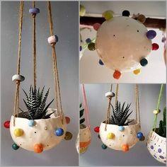 The Random Pots Collection Handmade Ceramic hanging planters succulent pot cactus pot hanging plant pot indoor outdoor pottery. Ceramic Pots, Ceramic Flowers, Ceramic Pottery, Cactus Ceramic, Pottery Painting, Ceramic Painting, Diy Clay, Clay Crafts, Ideias Diy