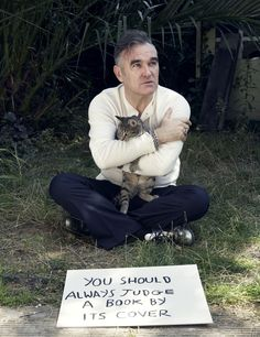 Morrissey and Fanny the Cat ― photo by Jake Walters (2010).