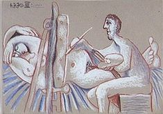 Picasso/The Artist and His Model (L`artiste et son modèle) 1970 Pablo Picasso Drawings, Picasso Cubism, Picasso Paintings, Oil Paintings, Picasso Images, Cubist Movement, Muse Art, Art Moderne, Les Oeuvres