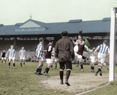 An action picture from the 1920 FA Cup Final at Stamford Bridge between Huddersfield Town in the stripes, and Aston Villa. School Football, Football Kits, Aston Villa Fc, Action Pictures, Huddersfield Town, Sir Alex Ferguson, Fa Cup Final, Birmingham England, Everton Fc