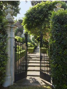 """The Peabody Estate """"Solana"""" Santa Barbara, CA 93108 United States Front Gates, Entrance Gates, Peabody Estate, Landscape Design, Garden Design, Garden Entrance, Wrought Iron Gates, Fence Gate, Fencing"""