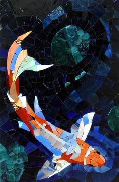 """Kathy Manzella  Evening Swim  8"""" x 12"""" stained glass Millefiori   Fire, Earth, Water, and Air Juried Exhibition Ciel Gallery, Charlotte May 2011"""