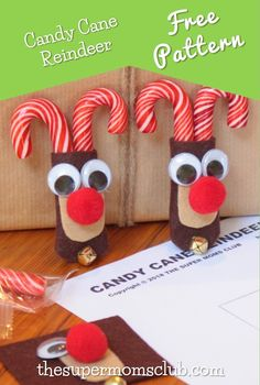 These cute candy cane reindeer are so easy to make. With our FREE printable pattern & step-by-step guide to help you along, crafting them will be a breeze! Candy Cane Reindeer, Cute Candy, Super Mom, Free Food, Make It Simple, Free Printables, Free Pattern, Christmas Crafts, Gift Wrapping