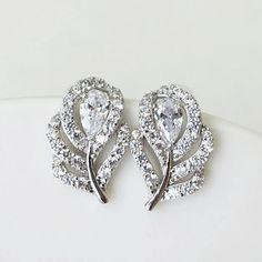 Diamond Earrings, Stud Earrings, Bridal Earrings, Bridal Accessories, Rose Gold Plates, Leaf Design, Sterling Silver Earrings, Wedding Jewelry, Heart Ring
