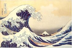 Katsushika Hokusai (1760-1849) created this extraordinary picture around 1831. It is known as The Great Wave Off Kanagawa (Fugaku sanjurokkei: Kanagawaoki namiura). It is a fairly small (10 x 15 in or 25.4 x 37.1 cm) colour woodcut. The original is at the Hakone Museum in Japan.