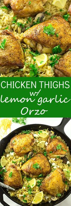 Crispy Skillet Chicken Thighs with Lemon Garlic Orzo - Juicy, flavorful, and crispy chicken thighs seasoned lightly and fried in a skillet using a secret ingredient! You will forget about baked chicken thighs after having it this way! The lemon and garlic orzo is the perfect side dish. Made in only ONE skillet!