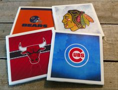 Set of 4 Chicago Teams Coasters by TheHomeTeamShop on Etsy