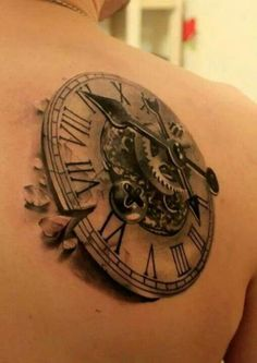 Steampunk clock - 25 Awesome Steampunk tattoo designs   Art and Design